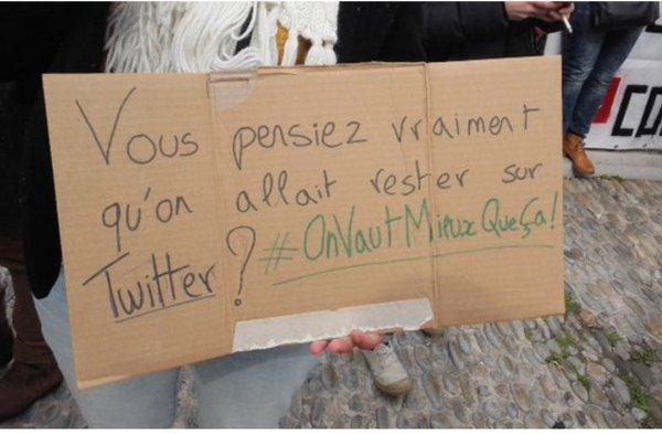 Manif #Grève09Mars twitter présent