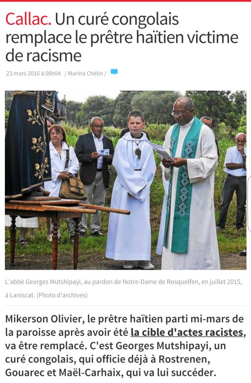 Callac un curé congolais remplace un curé noir victime de racisme