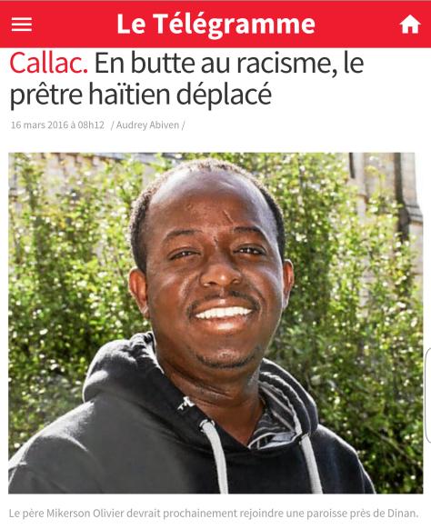 Curé noir victime de racisme Callac