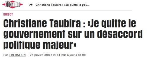 Taubira Quitte le Gouvernement