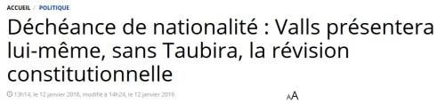 Valls sans Taubira Déchéance