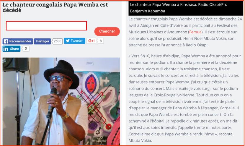Papa wemba est mort