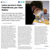 """""""Lettre ouverte à Alain #Finkielkraut"""", by Alain #Badiou, relire..."""