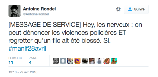 Tweet dantoine Rondel Violences policière