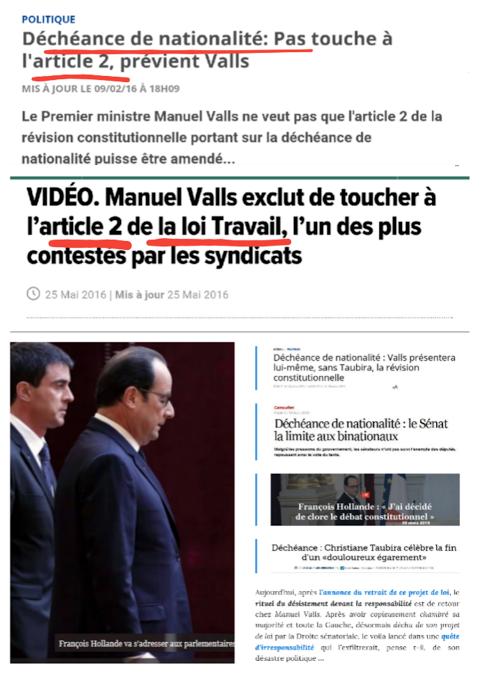 Article 2 loi travail décheance nationalité M Valls