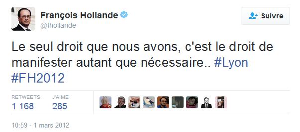F. Hollande le droit de manifester autant que nécessaire