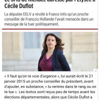 Quand l'Élysée menace C.Duflot: « tu rentres dans le rang ou on te tue!»...