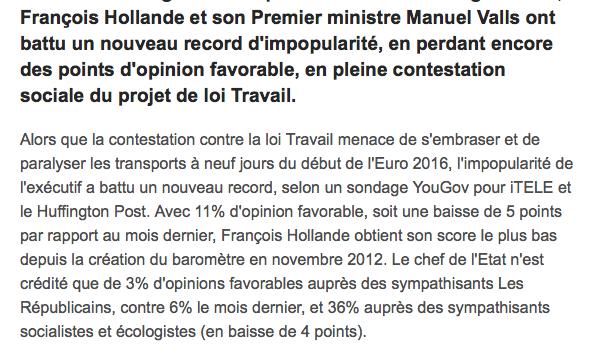 sondage Hollande Valls impopulaire