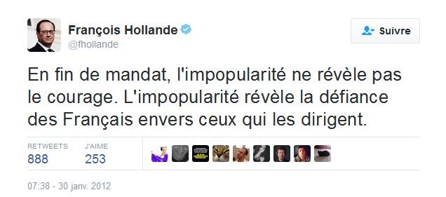 Tweet F Hollande 31 janvier 2012 Impopularité fin de mandat