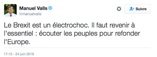 Tweet Manuel Valls Brexit écouter les peuples