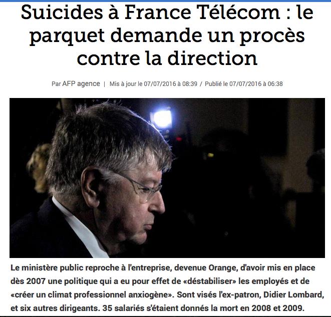 uicides à France Télécom le parquet demande un procès contre la direction