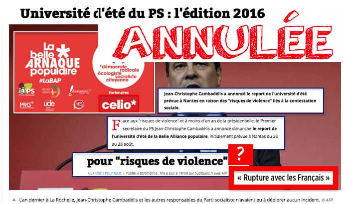 Université d'été PS RISQUE VIOLENCES ANNULée