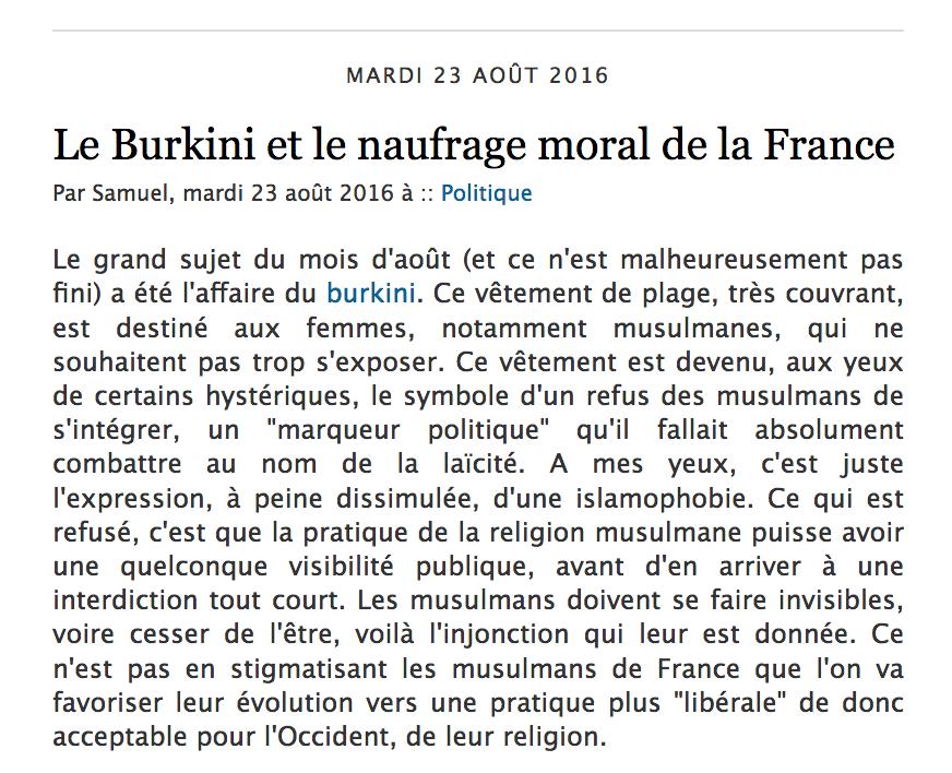 Autheil Le Burkini et le naufrage moral de la France