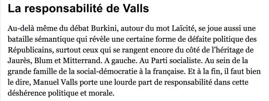 Burkini la responsabilité de Manuel Valls