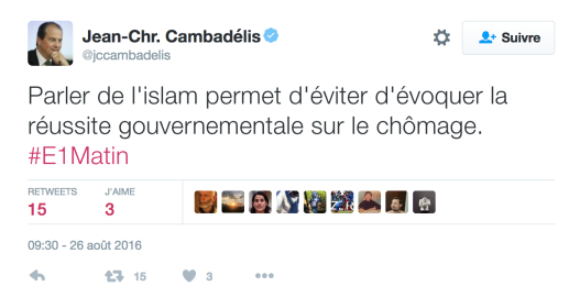 Cambadelis islam reussite du Gouvernement