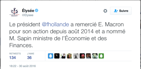 Elysée annonce la démission de Macron Tweet
