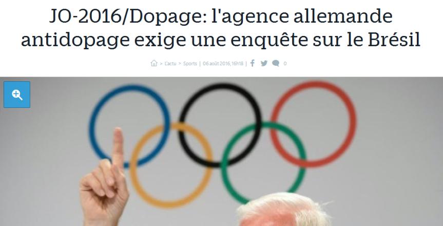 JO-2016 Dopage l'agence allemande antidopage exige une enquête sur le Brésil