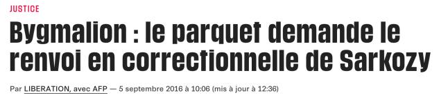 Bygmalion : le parquet demande le renvoi en correctionnelle de Sarkozy