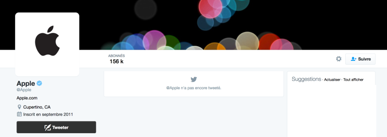 Compte twitter @Apple