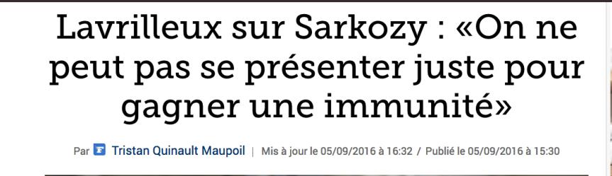 Lavrilleux sur Sarkozy : «On ne peut pas se présenter juste pour gagner une immunité»