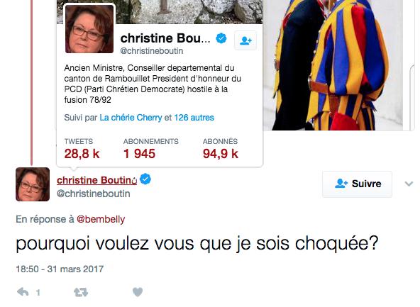 Christine Boutin Visite couple Gay Pape pas choquée