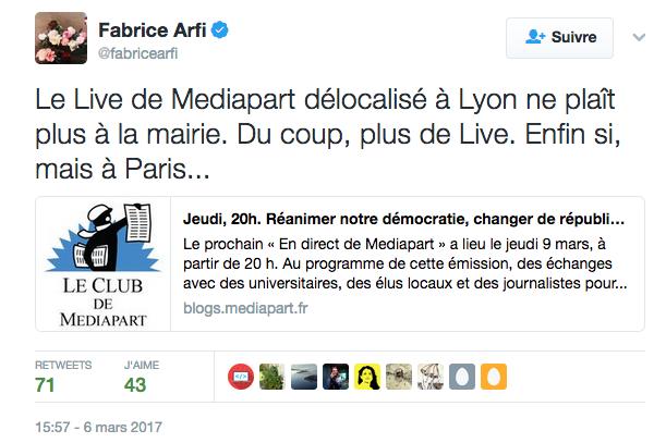 Le Live de Mediapart délocalisé à Lyon ne plaît plus à la mairie. Du coup, plus de Live. Enfin si, mais à Paris..