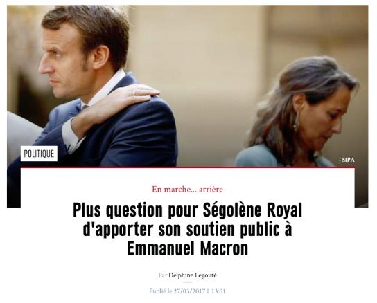 Plus question pour Ségolène Royal d'apporter son soutien public à Emmanuel Macron