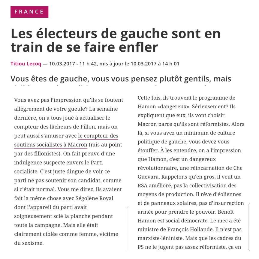 PS Hamon électeur de Gauche ytahison