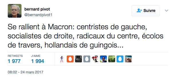Se rallient à Macron Tweet de Pivot