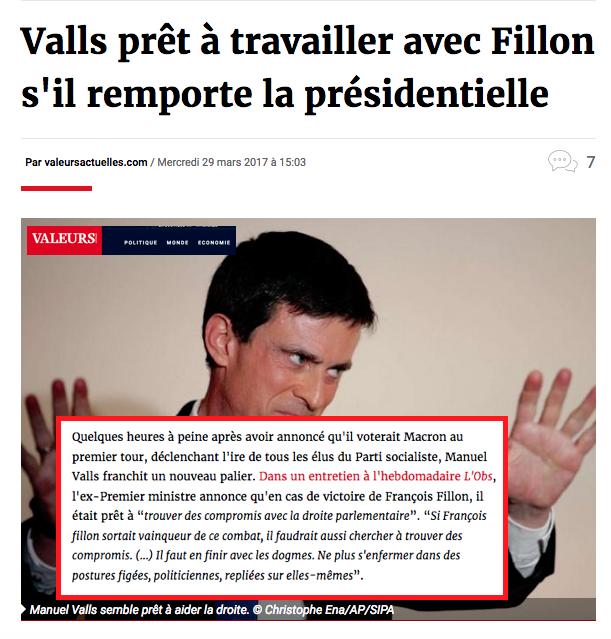 Valls prêt à travailler avec Fillon s'il remporte la présidentielle