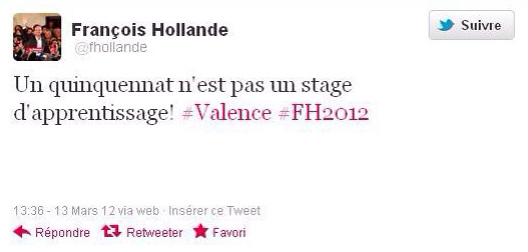 Hollande stage Quinquennat