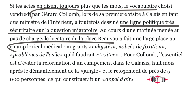 Collomb Migrants Calais