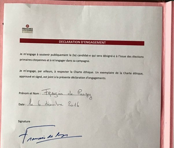 FRançois de Rugy engagement primaire Gauche Parjure