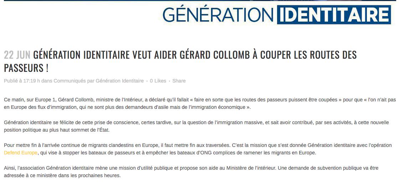 Génération identitaire veut aider Gérard Collomb à couper les routes des passeurs !