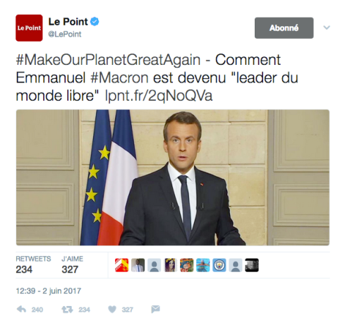 MakeOurPlanetGreatAgain Macron Trump Le Point