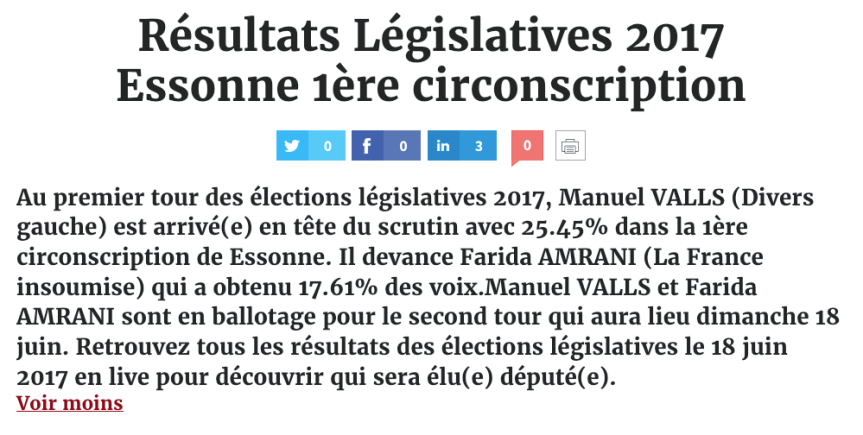 Manuel VALLS (Divers gauche) est arrivé(e) en tête du scrutin avec 25.45% dans la 1ère circonscription de Essonne devant Farida AMRANI (La France insoumise)