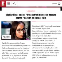 """Annulation de """"l'élection de M.#Valls"""" Acte1: Recours de F. Amrani devant le Conseil Constit."""