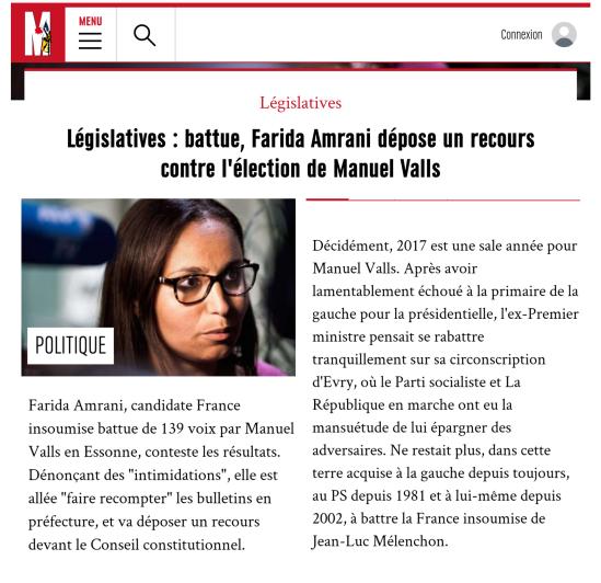 Manuel Valls Farida Amrani litige