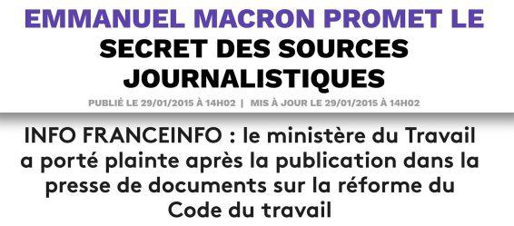 Matignon plainte Secret des sources loi travail