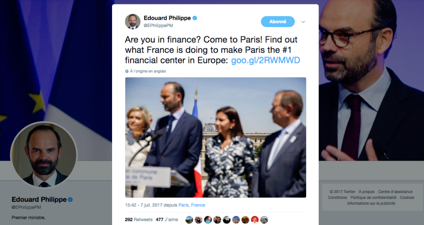 Edourd Philippe Are You in Finance? Come to Paris!