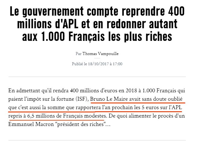 APL Recettes fiscales ISF Riches