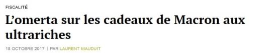 L_omerta sur les cadeaux de Macron aux ultrariches