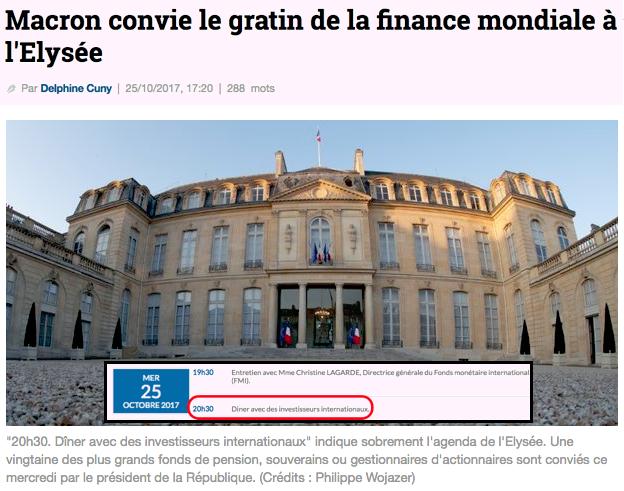 Macron convie le gratin de la finance mondiale à l'Elysée