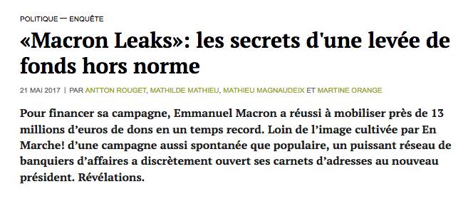 MAcron Leaks Secrets levées de fond