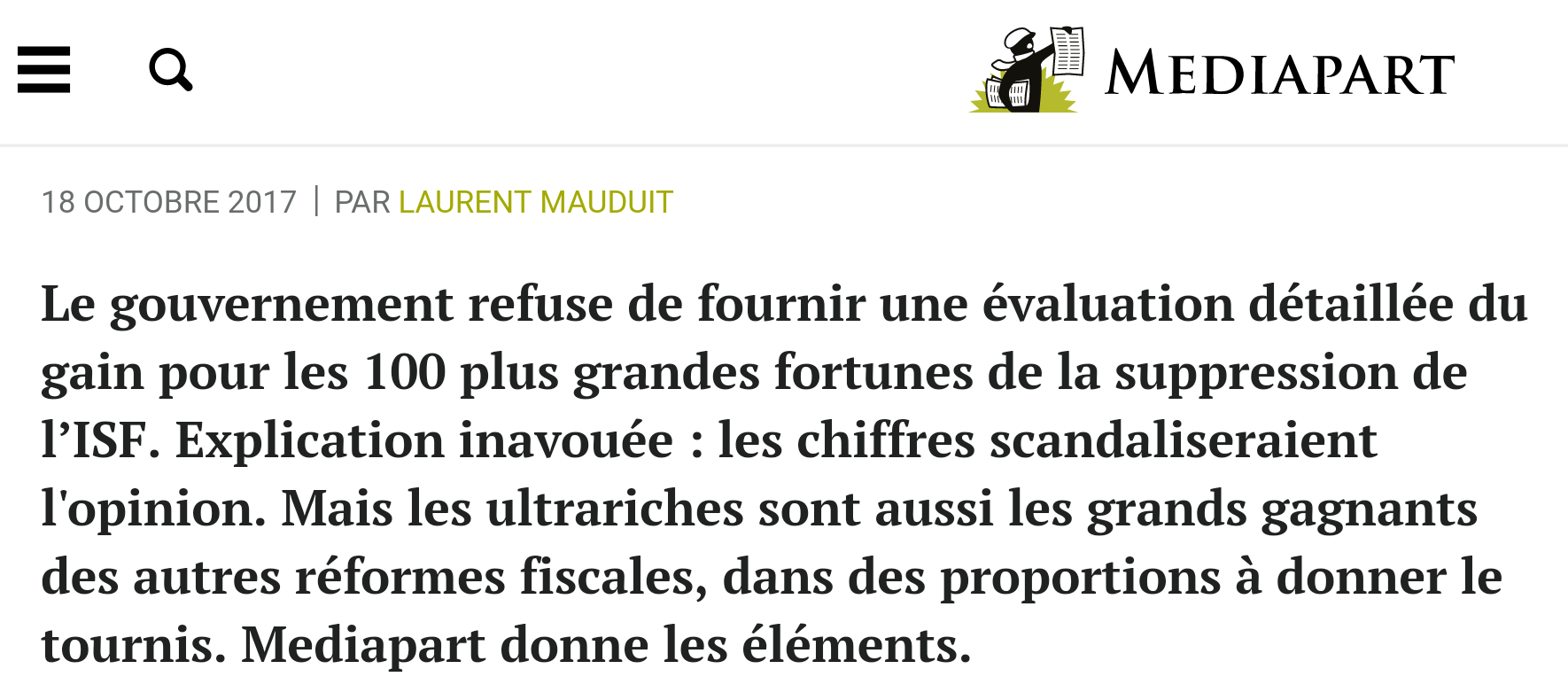 Secret Fiscal ISF Bercy Mediapart Bruno le maire