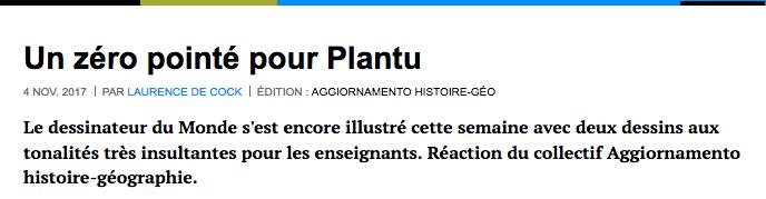 Un zéro pointé pour Plantu Laurence De Cock
