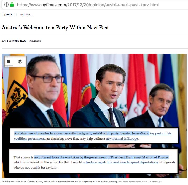 Autriche France Macron Migrants NYTimes