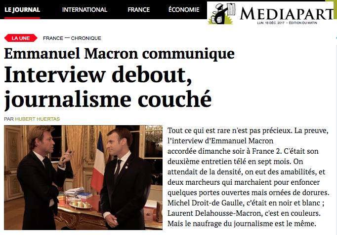 Emmanuel Macron communique Interview debout, journalisme couch