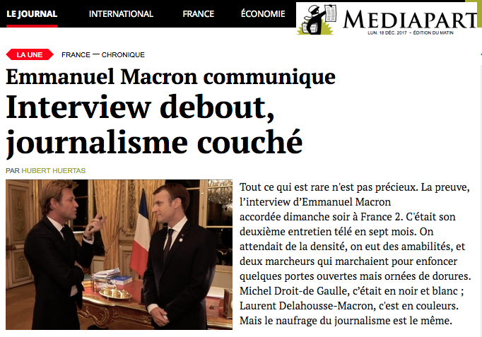 Emmanuel Macron communique Interview debout, journalisme couch