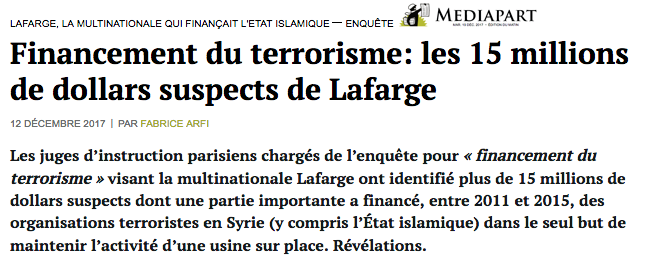Financement du terrorisme: les 15 millions de dollars suspects de Lafarge